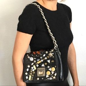 Black studded Chain strap faux leather purse bag
